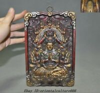 "9""Old Tibet Buddhism Wood Painted Kwan-yin Guanyin Goddess Tangka Wall Hanging"