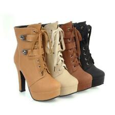 Women's Zip Buckle Lace up Ankle Boots High Chunky Heel Platform Shoes Bootie