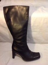 Barratts Black Knee High Leather Boots Size 41