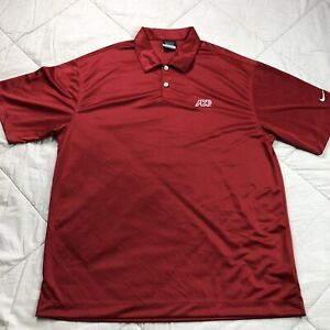 Nike Golf Dri-Fit Polo Shirt ADP Logo Large Red Mens Short Sleeve