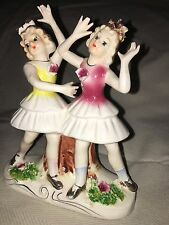 "1900 Antique statuette Germany 6 "" Girls dancing Yellow and Pink"