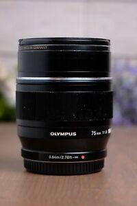 Olympus M.Zuiko Digital ED 75mm f/1.8 Lens (Black) with Caps
