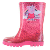 Girls Peppa Pig Pink Glitter Rainbow Wellies Wellington Boots UK Child 4 - 10
