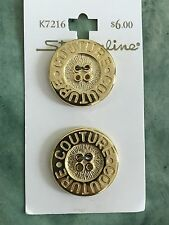 """8 VINTAGE STREAMLINE FANCY GOLD TONE METAL BUTTONS-COUTURE- 1"""" - K7216, NEW"""