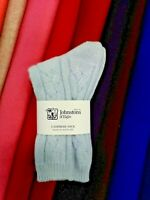 Cable Knit Cashmere Socks | Johnstons of Elgin | Made in Scotland | Powder Blue