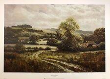 "DAVID DIPNALL ""Farm Beneath Downs"" path countryside NEW SIZE:50cm x 75cm  RARE"
