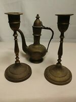 """Vintage Brass Tea Pot 6"""" & 2 Candle Stick Holders  6 1/2""""  made in India"""
