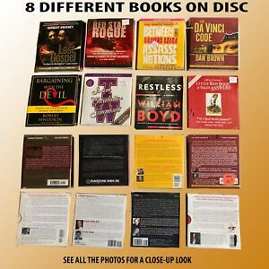 COLLECTION OF 8 DIFFERENT AUDIO BOOKS ON CD ALL ARE READY TO PLAY AND IN  BOXES