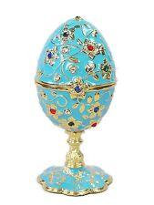 Jeweled Egg Ring Jewelry Box Light Blue Enamel Crystal Metal Egg Trinket Box