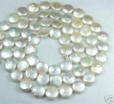 "12MM White Coin Real Natural Pearl Jewelry Gorgeous Necklace 30"" AA"