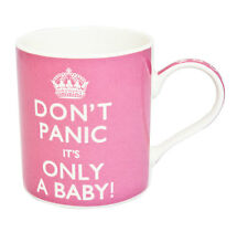 Fine China Mug -  Novelty Mug - Don't Panic It's Only A Baby Text - Red Mug