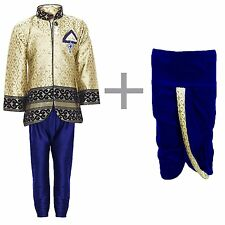 Boys Indo Western Kurta Dhoti Pant Set for Kids Blue 4T or 5T