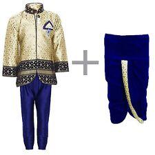 Boys Indo Western Kurta Dhoti Pant Set for Kids Blue 4T