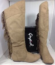 NEW QUPID Faux Taupe Brown Leather Suede Women's Boots Size 7 1/2 Fringe Shoes