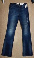 GAP 1969 Perfect Boot Jeans Dark Indigo Blue slim through hip&thigh Size 25R 31L