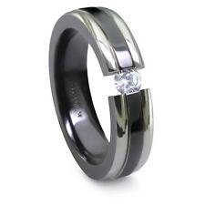 Edward Mirell 6mm Black Titanium Tension Set Diamond Band White Step Down Edges