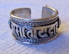 Silver Plated Ring Free Size Nepali Ring Tibetan Mantra carved Women Men's ring