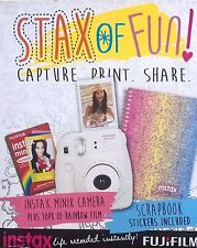Instax Mini 8 White Camera Bundle Inc Scrapbook + 10pk x Rainbow Film Fujifilm