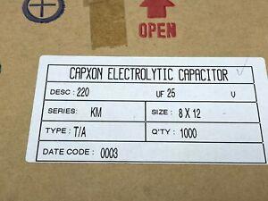 1000 x CAPXON 220uF 25V Aluminium Electrolytic Capacitor in box 8 x 12mm 105c