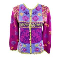 Alpaca Imports Multicolor All Over Floral Embroidered  Sweater Cardigan Womens S