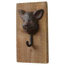 "Your Heart's Delight Pig Head Cast Iron 5x9"" Wood Wall Mounted Hook Plaque Sign"