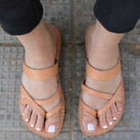 Greek Leather Sandals for Women Handmade Grecian Spartan Thongs Gladiator Roman