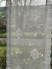 Antique design Fleur De Lys 2m long sidelight panel White cotton lace