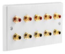 White 10 x RCA Phono Audio Wall face plate Non-solder