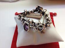 "NWT Uno de 50 Silver Plated/Leather/Swarovski Bracelet ""Lady Marmalade"" 6"""