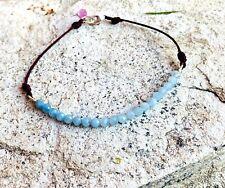 """Aquamarine Beaded Bracelet 7"""" natural faceted gems simple stack bar real14k gold"""