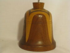 """vintage wood bell unique mixed wooden bell Routon of Arizona 4"""" x 3.25"""" ringer"""