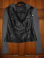 NWT ~ JOE BOXER black faux leather jacket gray sweater sleeves hood ~ juniors S