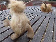 Vintage Flocked Toy Lion Cub Real Fur 50 60-ties Long Tail Paper Eyes