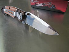 Steel Warrior Executive Gun Checkered Wood Mirror 440 Folding Pocket Knife 180W