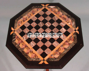 Brown Marble Coffee Chess Board Table Top Inlay Marquetry Garden Play Deco H3238