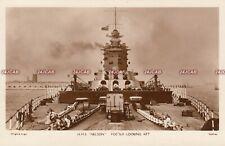 "Royal Navy RP Postcard. HMS ""Nelson"" Battleship. Foc'sle looking aft. Fine! 1928"