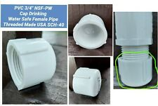 """PVC 3/4"""" NSF-PW Cap Drinking Water Safe Female Pipe Threaded Made USA SCH-40"""