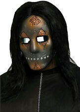 Metallic Freaky Rusted Cracked Industrial Look Face Mask with Black Long Hair