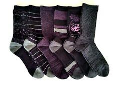 Kirkland Women's Trail Socks Extra Fine Merino Wool 6 Pair Black Gray Purple NEW