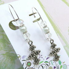 Cross Charm Earrings with White Pearls and Crystal on Long Kidney Wires