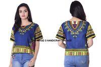 Femme Fête Haut Court Boho Hippe Africain Dashiki Festival Chemise Gypsy Bleu