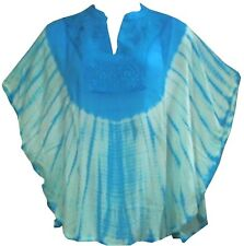 Modest Fashion Women's Loose Batwing Dolman Sleeve Poncho Tunic Blouse Top Blue