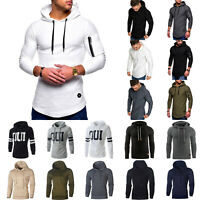 Men's Slim Fit Athletic Muscle Long Sleeve Hoodies T-shirt Tops Sport Gym Blouse