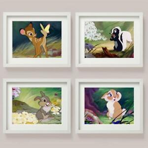 Disney BAMBI SET of 4 Picture Print THUMPER Miss Bunny FLOWER SKUNK BABY