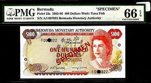Bermuda 100 Dollars 1982 SPECIMEN PMG 66 EPQ UNC Pick# 33s S/N A/I 097822