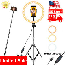 10'Led Ring Light Kit Phone Holder Pro Studio Photo Makeup Stand Selfie Stick