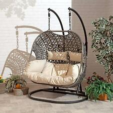 More details for double cocoon chair swing wicker rattan hanging garden furniture cushion