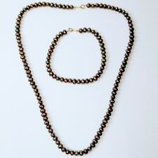 10KT JCM Bronze Freshwater Pearl Necklace And Bracelet Set