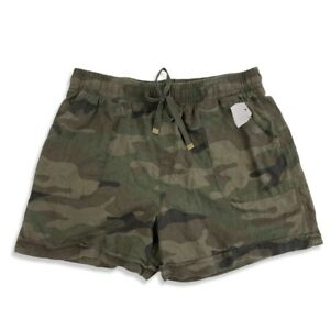NWT Time And Tru Linen Green Camouflage Shorts Sz S Drawstring Elastic Waist