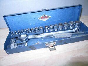 Vintage 21 piece S-K Tools 3/8 Drive Socket Set  Ratchet wrench & 1/4''  sockets